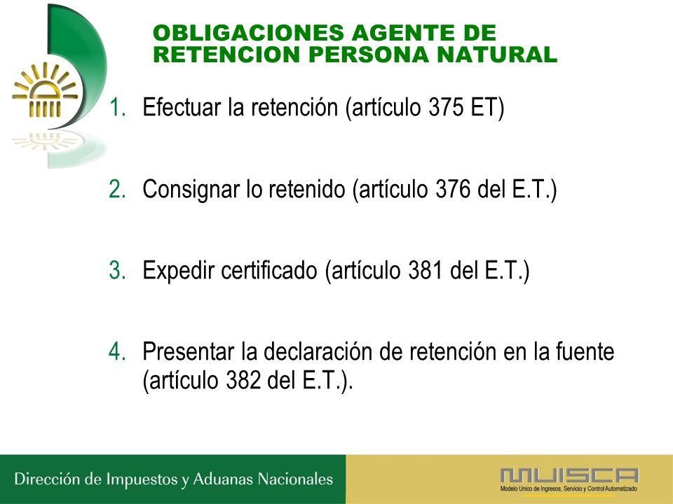 OBLIGACIONES AGENTE DE RETENCION PERSONA NATURAL 1.Efectuar la retención (artículo 375 ET) 2.Consignar lo retenido (artículo 376 del E.T.) 3.Expedir certificado (artículo 381 del E.T.) 4.Presentar la declaración de retención en la fuente (artículo 382 del E.T.).