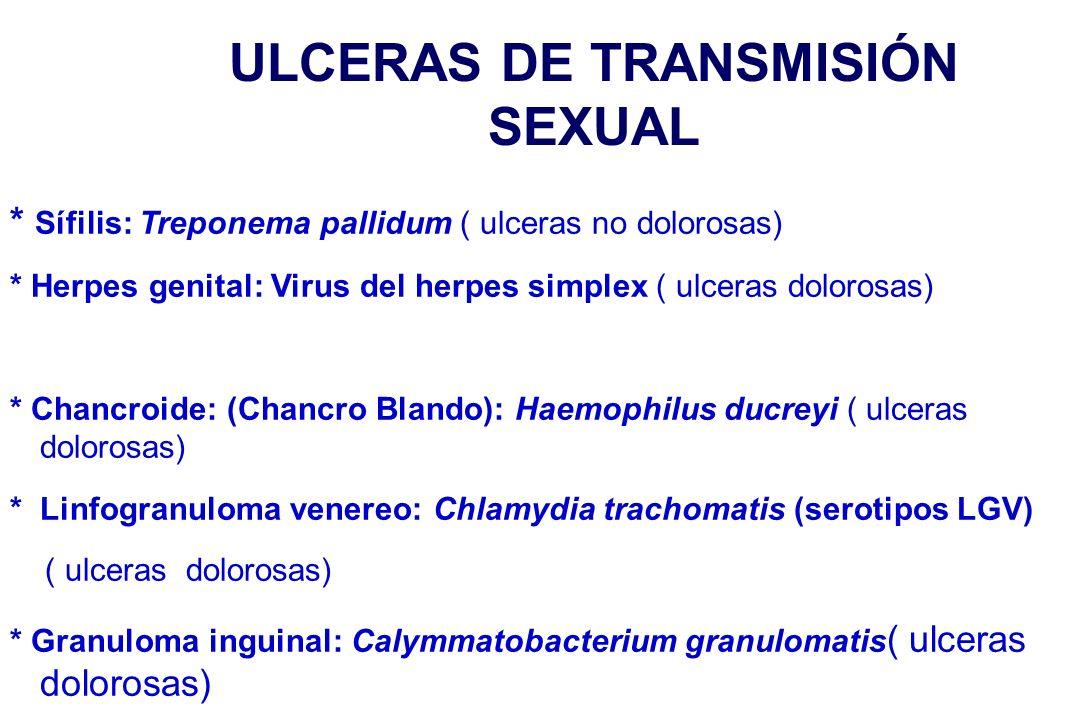 ULCERAS DE TRANSMISIÓN SEXUAL * Sífilis: Treponema pallidum ( ulceras no dolorosas) * Herpes genital: Virus del herpes simplex ( ulceras dolorosas) * Chancroide: (Chancro Blando): Haemophilus ducreyi ( ulceras dolorosas) * Linfogranuloma venereo: Chlamydia trachomatis (serotipos LGV) ( ulceras dolorosas) * Granuloma inguinal: Calymmatobacterium granulomatis ( ulceras dolorosas)