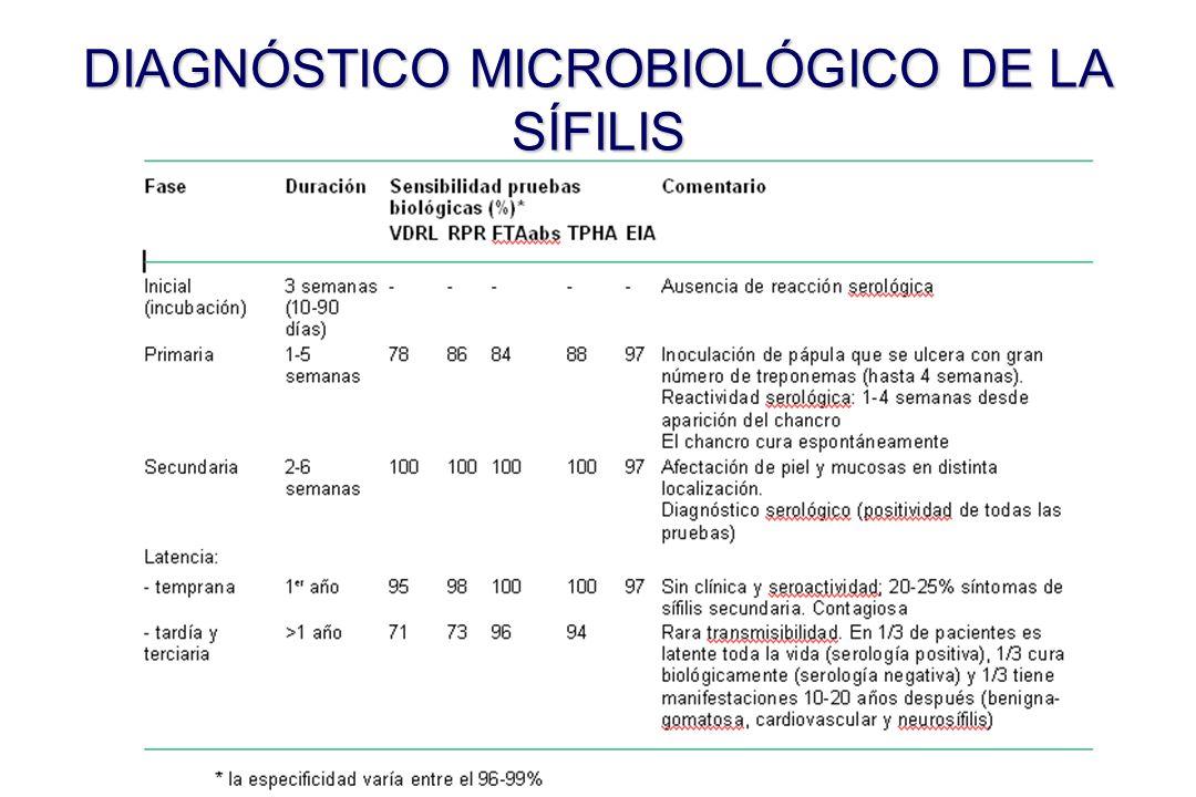 Fas e Duració n Sensibilidad pruebas biológicas (%)* Comentario VDRL VDRL RPR RPR FTAabsFTAabs TPHA TPHA EIA EIA Inic ial (inc uba ció n) 3 semana s (10-90 días) -----Ausencia de reacción serológica Pri mar ia 1-5 semana s 7878 8686 84848 9797 Inoculación de pápula que se ulcera con gran número de treponemas (hasta 4 semanas).
