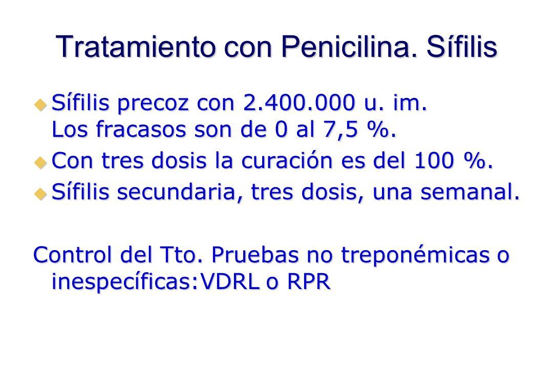 Tratamiento con Penicilina. Sífilis  Sífilis precoz con 2.400.000 u.