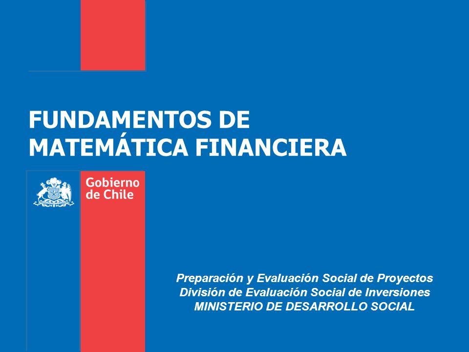 FUNDAMENTOS DE MATEMÁTICA FINANCIERA Preparación y Evaluación Social de Proyectos División de Evaluación Social de Inversiones MINISTERIO DE DESARROLLO SOCIAL