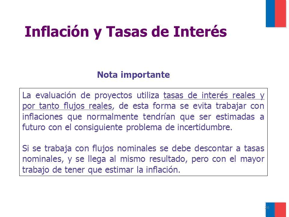26 La evaluación de proyectos utiliza tasas de interés reales y por tanto flujos reales, de esta forma se evita trabajar con inflaciones que normalmente tendrían que ser estimadas a futuro con el consiguiente problema de incertidumbre.
