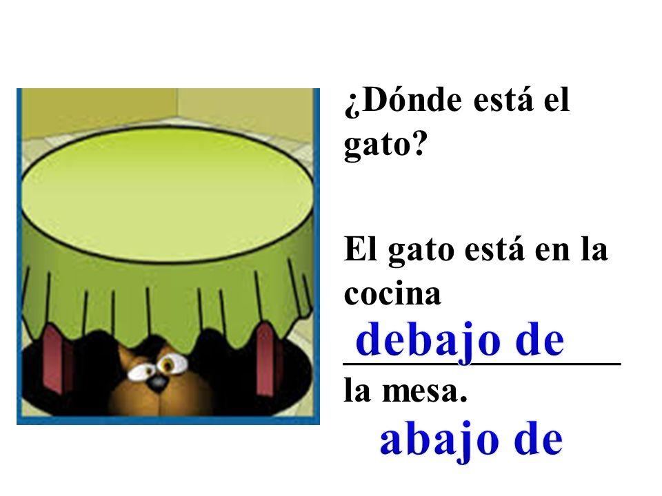 ¿Dónde está el gato El gato está en la cocina _______________ la mesa.