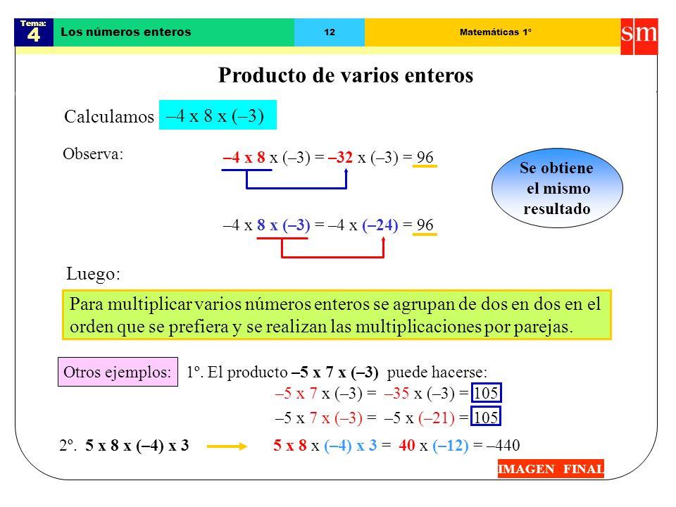 Tema: 4 Los números enteros 11Matemáticas 1º Regla de los signos IMAGEN FINAL Hay cuatro posibilidades: Para multiplicar números enteros hay que tener