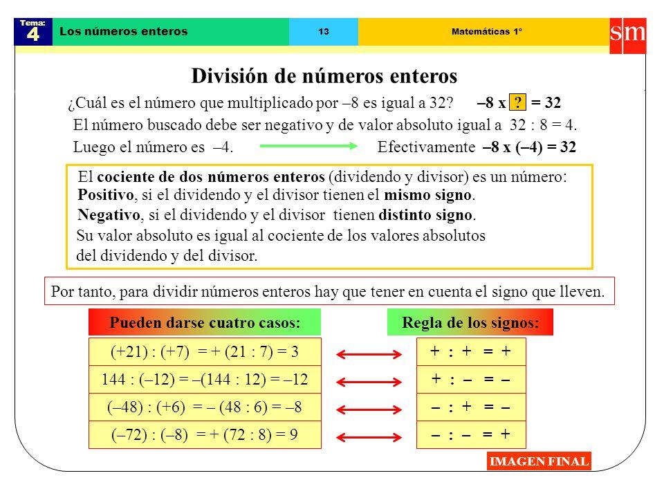 Tema: 4 Los números enteros 12Matemáticas 1º Producto de varios enteros IMAGEN FINAL Para multiplicar varios números enteros se agrupan de dos en dos