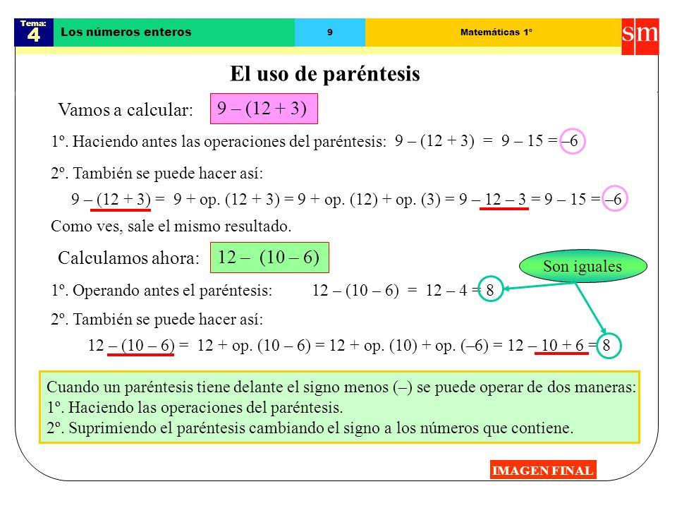 Tema: 4 Los números enteros 8Matemáticas 1º Resta de números enteros IMAGEN FINAL Para restar dos números enteros se suma al minuendo el opuesto del s