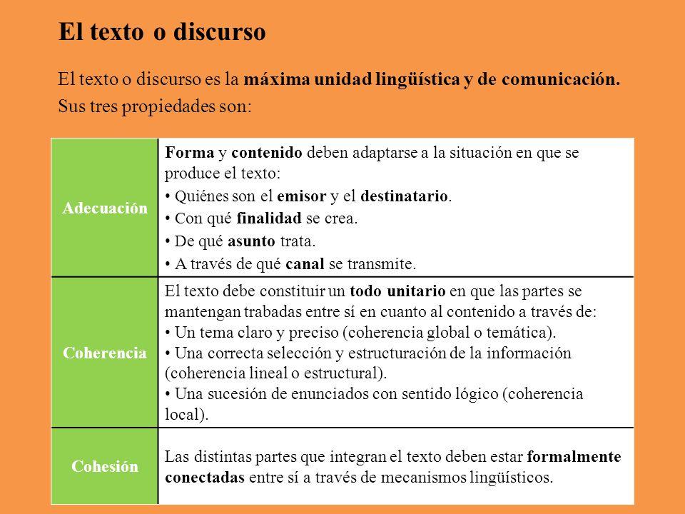 El texto o discurso El texto o discurso es la máxima unidad lingüística y de comunicación.