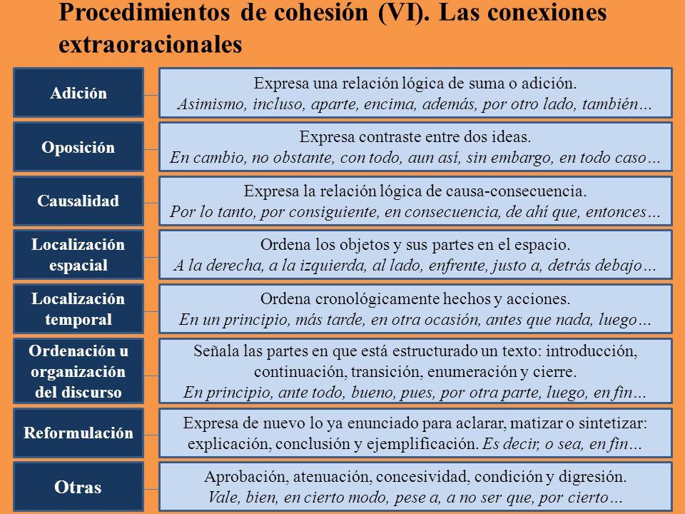 Procedimientos de cohesión (VI).