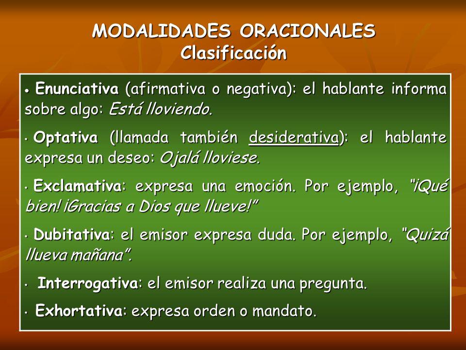 MODALIDADES ORACIONALES Clasificación Enunciativa (afirmativa o negativa): el hablante informa sobre algo: Está lloviendo.