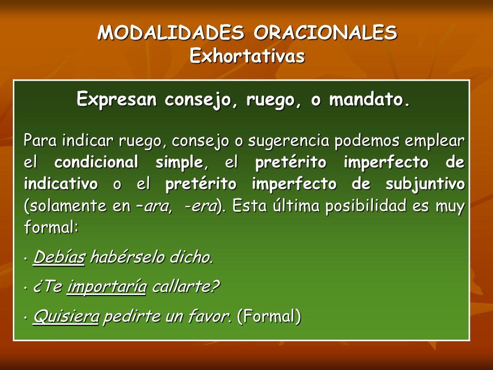 MODALIDADES ORACIONALES Exhortativas Expresan consejo, ruego, o mandato.