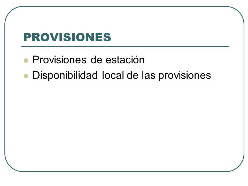PROVISIONES Provisiones de estación Disponibilidad local de las provisiones