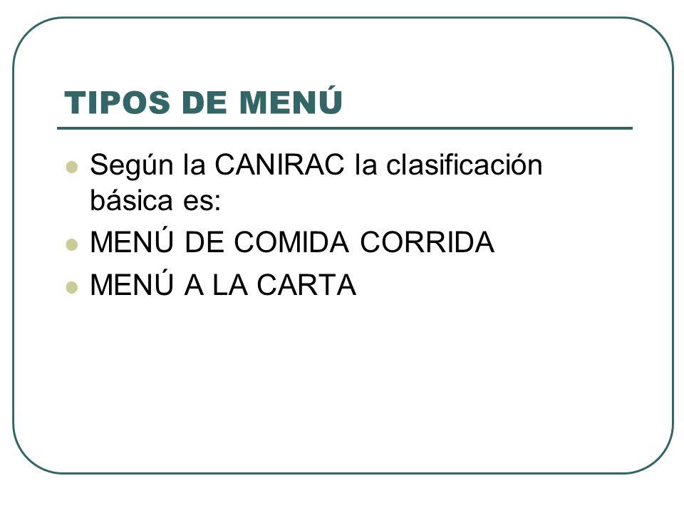 TIPOS DE MENÚ Según la CANIRAC la clasificación básica es: MENÚ DE COMIDA CORRIDA MENÚ A LA CARTA