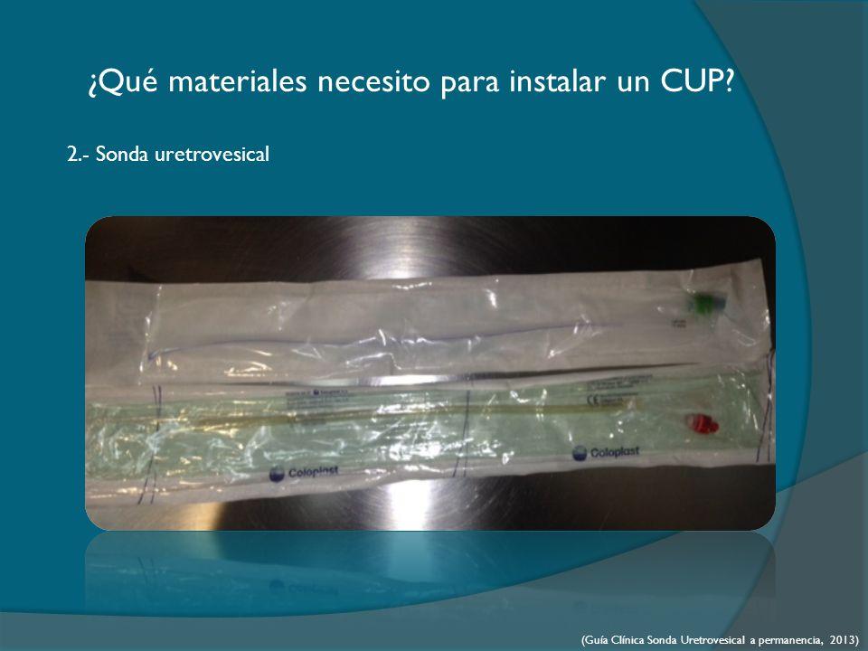 ¿Qué materiales necesito para instalar un CUP.3.- Jeringa de 10 ó 20 cc.