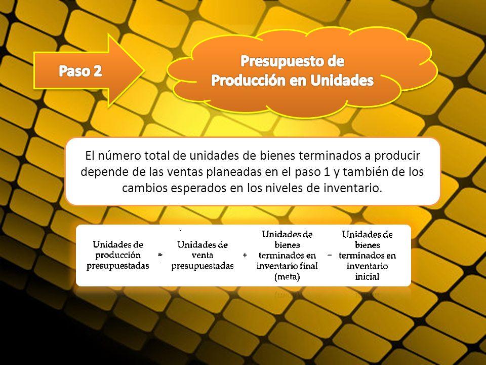 El número total de unidades de bienes terminados a producir depende de las ventas planeadas en el paso 1 y también de los cambios esperados en los niv
