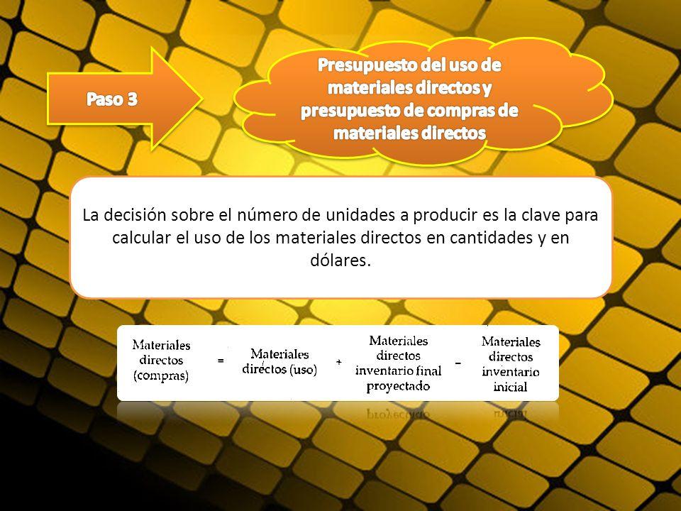 La decisión sobre el número de unidades a producir es la clave para calcular el uso de los materiales directos en cantidades y en dólares.