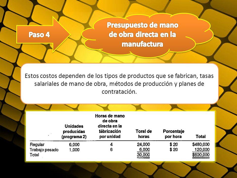 Estos costos dependen de los tipos de productos que se fabrican, tasas salariales de mano de obra, métodos de producción y planes de contratación.
