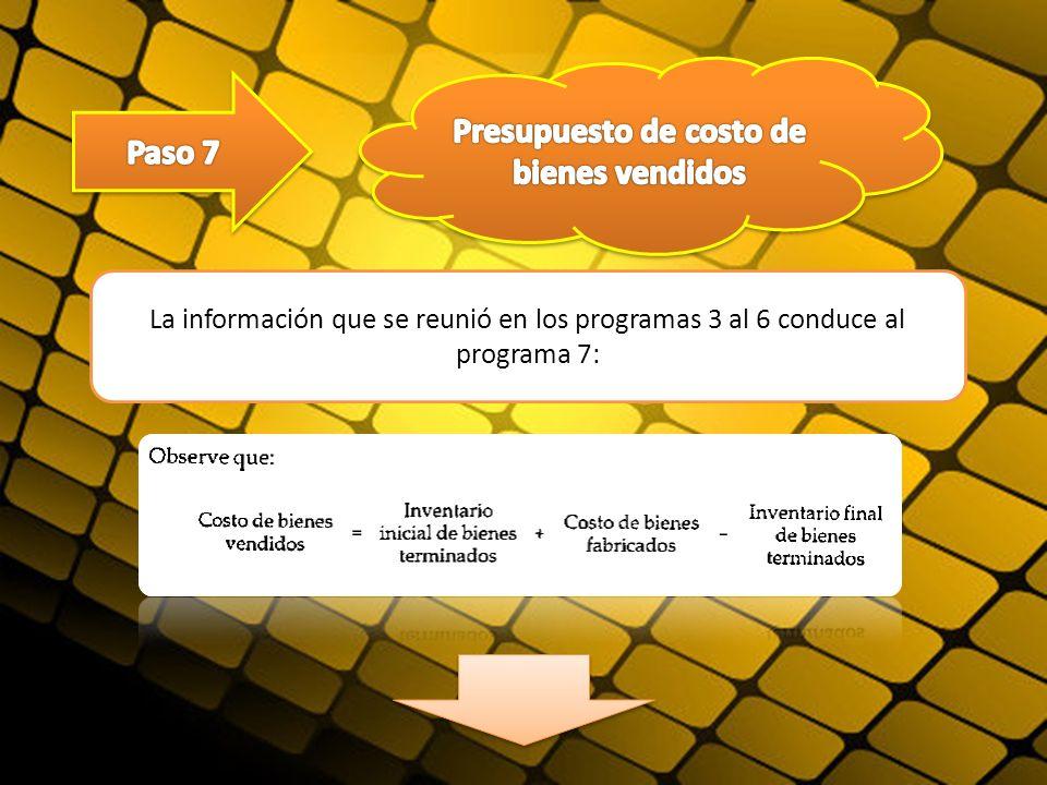 La información que se reunió en los programas 3 al 6 conduce al programa 7: