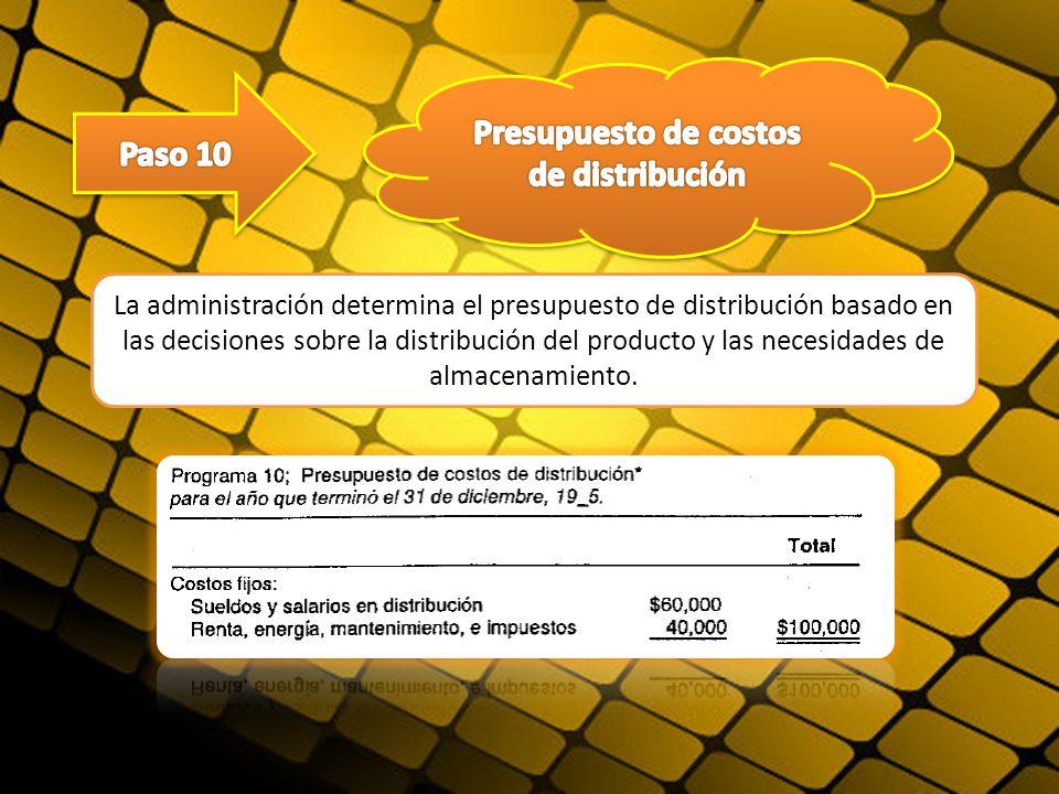 La administración determina el presupuesto de distribución basado en las decisiones sobre la distribución del producto y las necesidades de almacenami