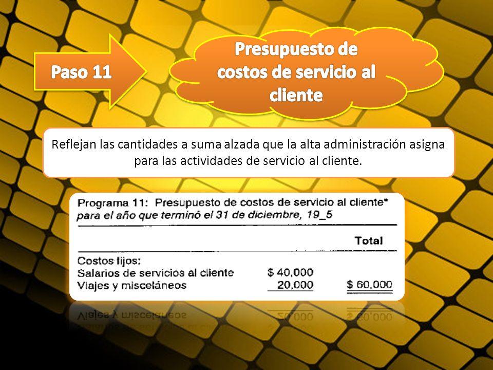 Reflejan las cantidades a suma alzada que la alta administración asigna para las actividades de servicio al cliente.