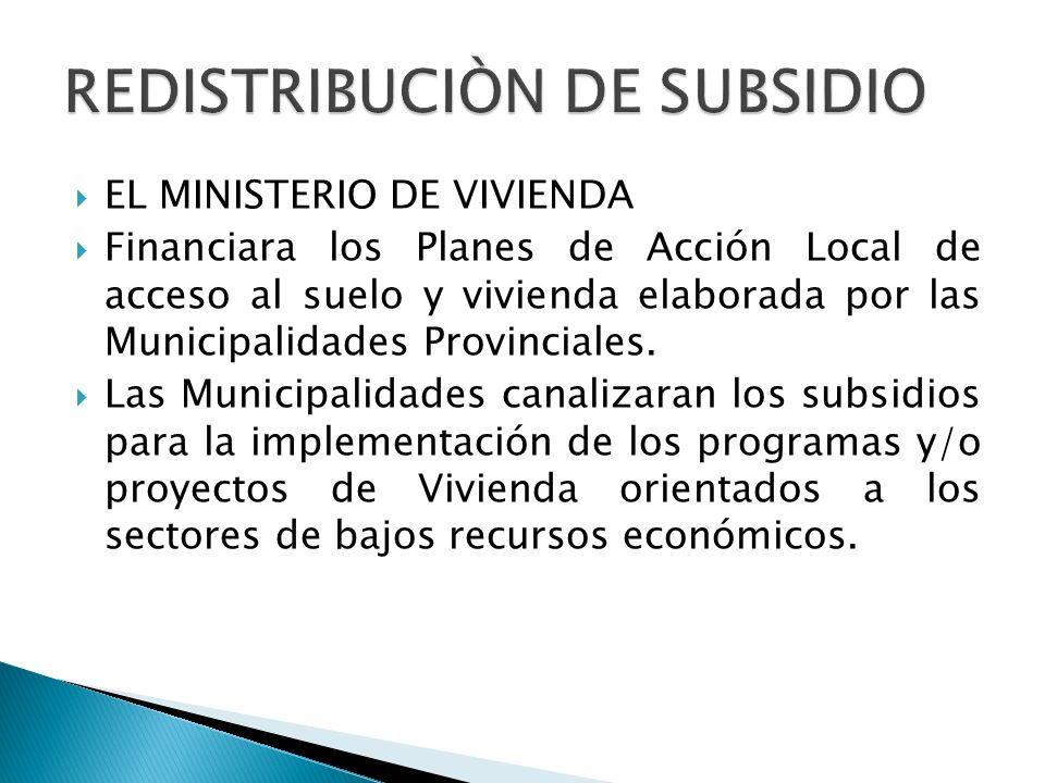  EL MINISTERIO DE VIVIENDA  Financiara los Planes de Acción Local de acceso al suelo y vivienda elaborada por las Municipalidades Provinciales.