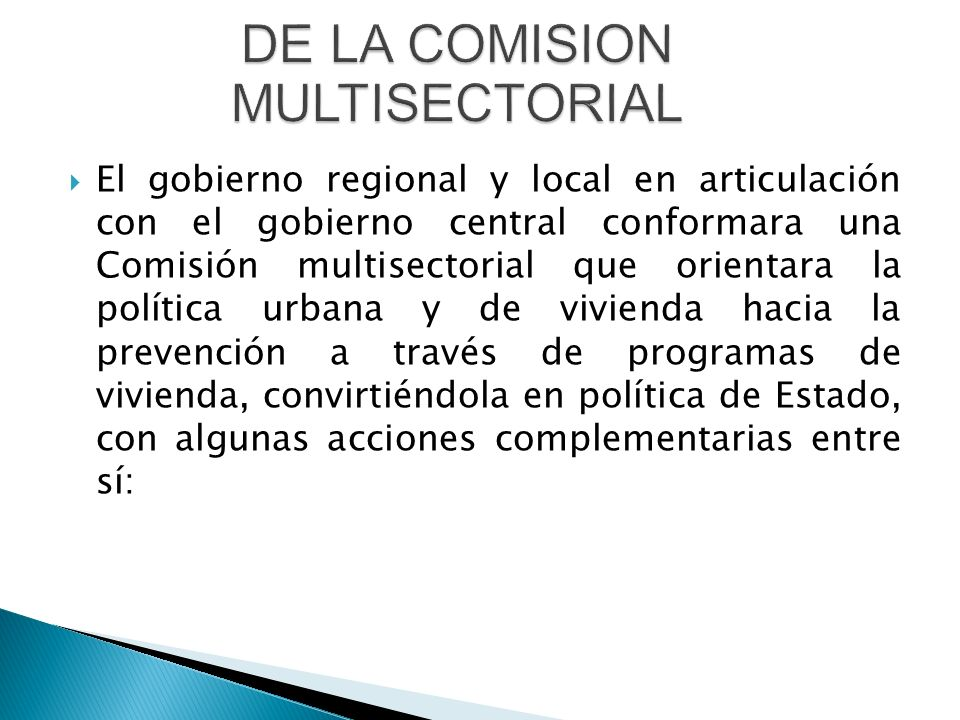  El gobierno regional y local en articulación con el gobierno central conformara una Comisión multisectorial que orientara la política urbana y de vivienda hacia la prevención a través de programas de vivienda, convirtiéndola en política de Estado, con algunas acciones complementarias entre sí: