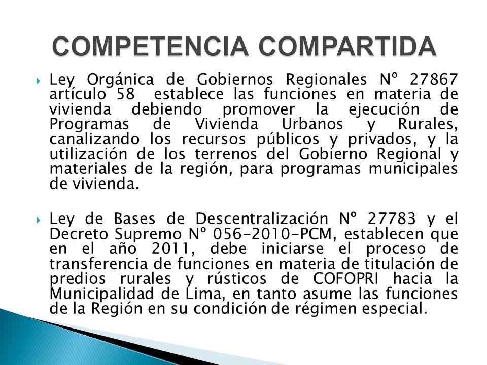  Ley Orgánica de Gobiernos Regionales Nº 27867 artículo 58 establece las funciones en materia de vivienda debiendo promover la ejecución de Programas de Vivienda Urbanos y Rurales, canalizando los recursos públicos y privados, y la utilización de los terrenos del Gobierno Regional y materiales de la región, para programas municipales de vivienda.