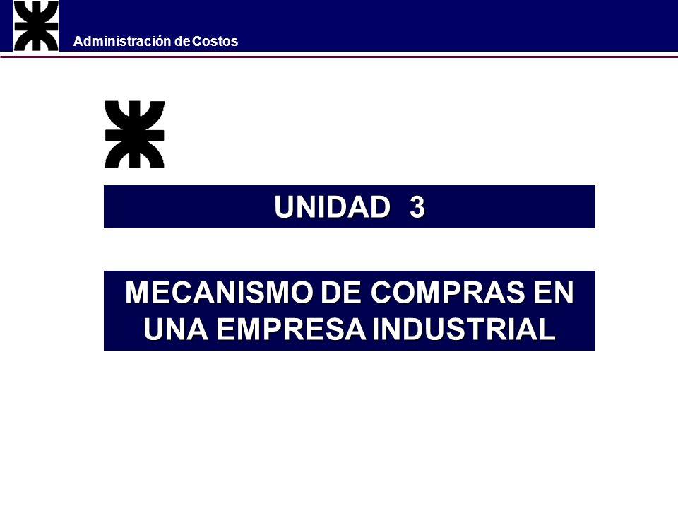 Administración de Costos UNIDAD 3 MECANISMO DE COMPRAS EN UNA EMPRESA INDUSTRIAL