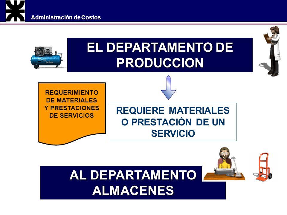 Administración de Costos EL DEPARTAMENTO DE PRODUCCION REQUIERE MATERIALES O PRESTACIÓN DE UN SERVICIO REQUERIMIENTO DE MATERIALES Y PRESTACIONES DE SERVICIOS AL DEPARTAMENTO ALMACENES