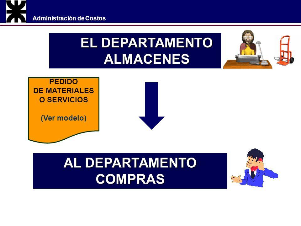 Administración de Costos EL DEPARTAMENTO ALMACENES AL DEPARTAMENTO COMPRAS PEDIDO DE MATERIALES O SERVICIOS (Ver modelo)