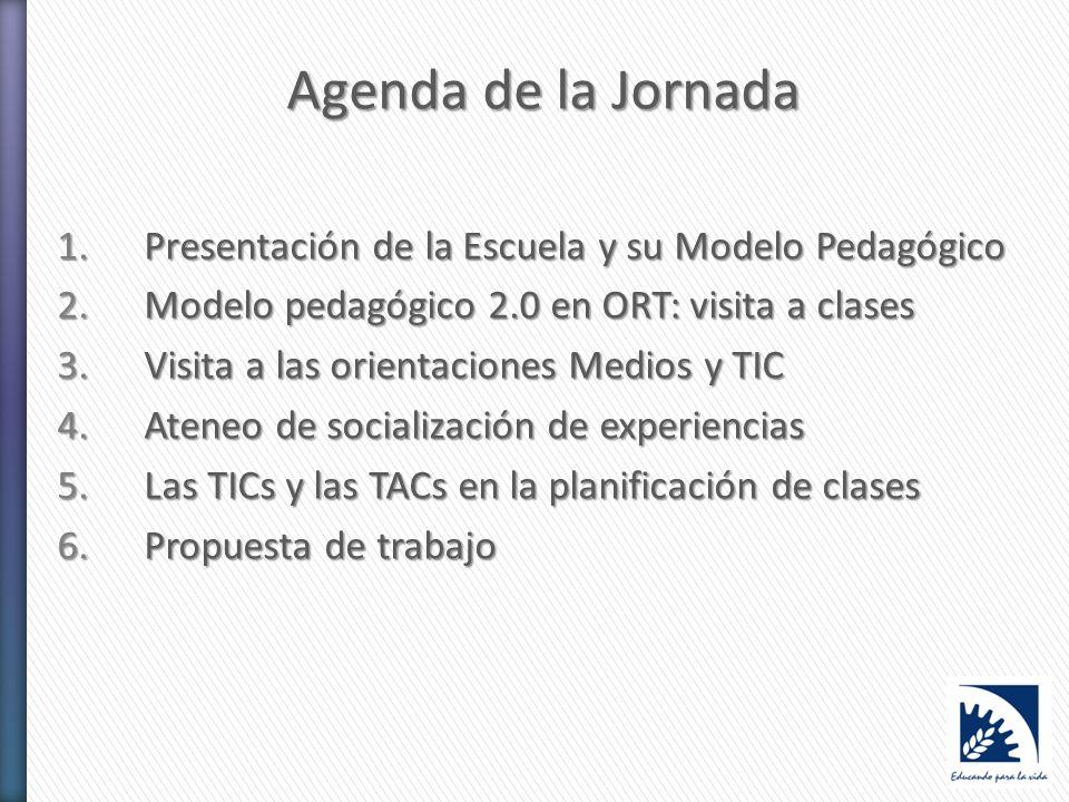 Agenda de la Jornada 1.Presentación de la Escuela y su Modelo Pedagógico 2.Modelo pedagógico 2.0 en ORT: visita a clases 3.Visita a las orientaciones Medios y TIC 4.Ateneo de socialización de experiencias 5.Las TICs y las TACs en la planificación de clases 6.Propuesta de trabajo
