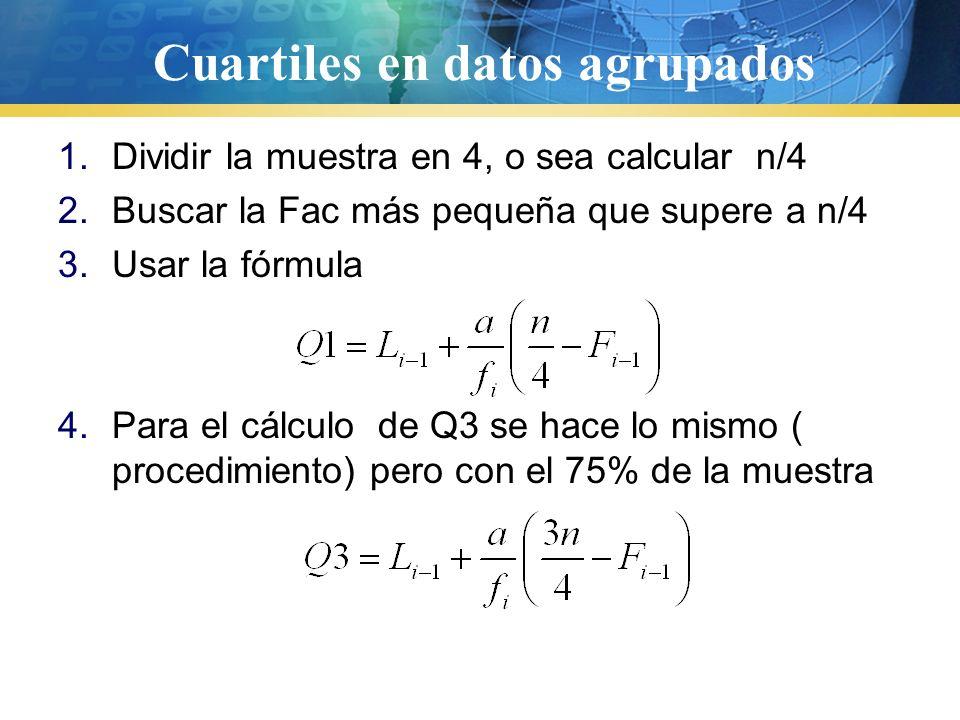 Cuartiles 25%50%75% 8,3,2,5,6,7,5,4,3,2,6,7,8,9,9,2,4,5,7,6,4,3,4,5,6,7 2,2,2,3,3,3,4,4,4,4,5,5,5,5,6,6,6,6,7,7,7,7,8,8,9,9, Ordenados de menor a mayo