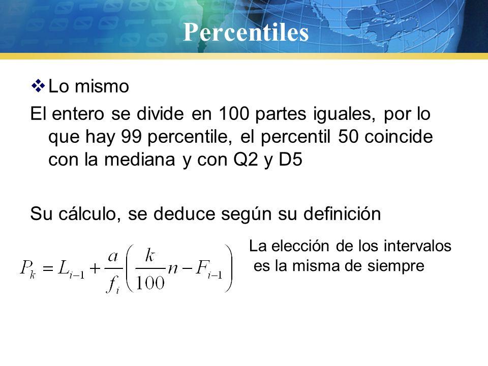 Deciles  Divide la muestra en 10 partes, o sea hay nueve deciles 10%30% 50%70%90% El cálculo es igual al de los cuartiles ya sea para datos agrupados, como no agrupados