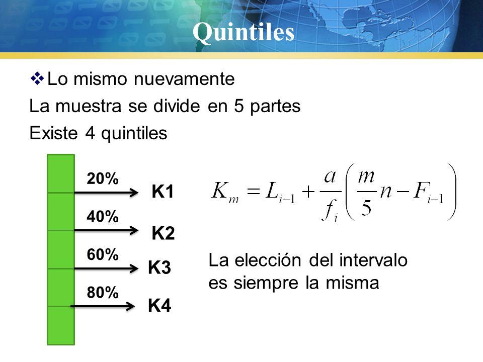 Percentiles  Lo mismo El entero se divide en 100 partes iguales, por lo que hay 99 percentile, el percentil 50 coincide con la mediana y con Q2 y D5 Su cálculo, se deduce según su definición La elección de los intervalos es la misma de siempre