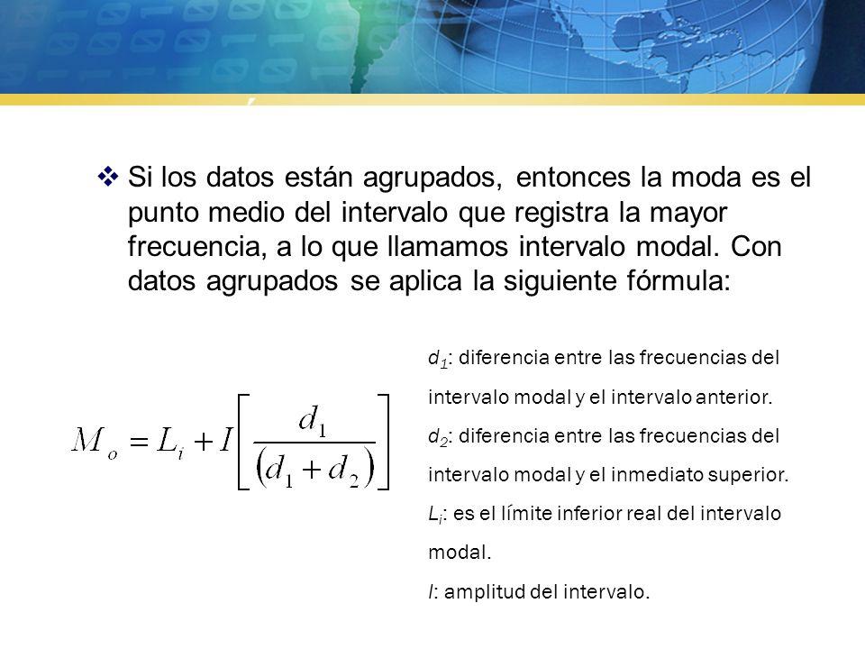  Si todas las puntuaciones de una distribución tienen la misma frecuencia consideraríamos que no existe moda.