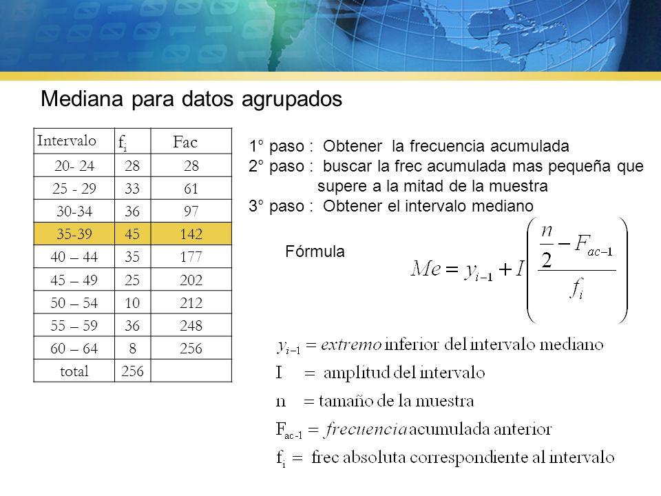 La mediana de un conjunto de datos es un valor que supera al 50% de la muestra y al mismo tiempo es superado por el otro 50 % de la muestra Los pesos, en kilogramos, de 7 jugadores de un equipo de fútbol son: Ejemplo: 72, 65, 71, 56, 59, 63, 72 1º.