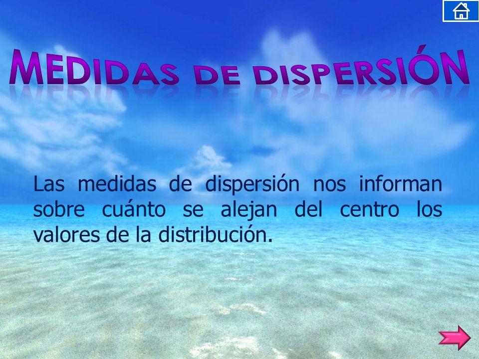 Las medidas de dispersión nos informan sobre cuánto se alejan del centro los valores de la distribución.