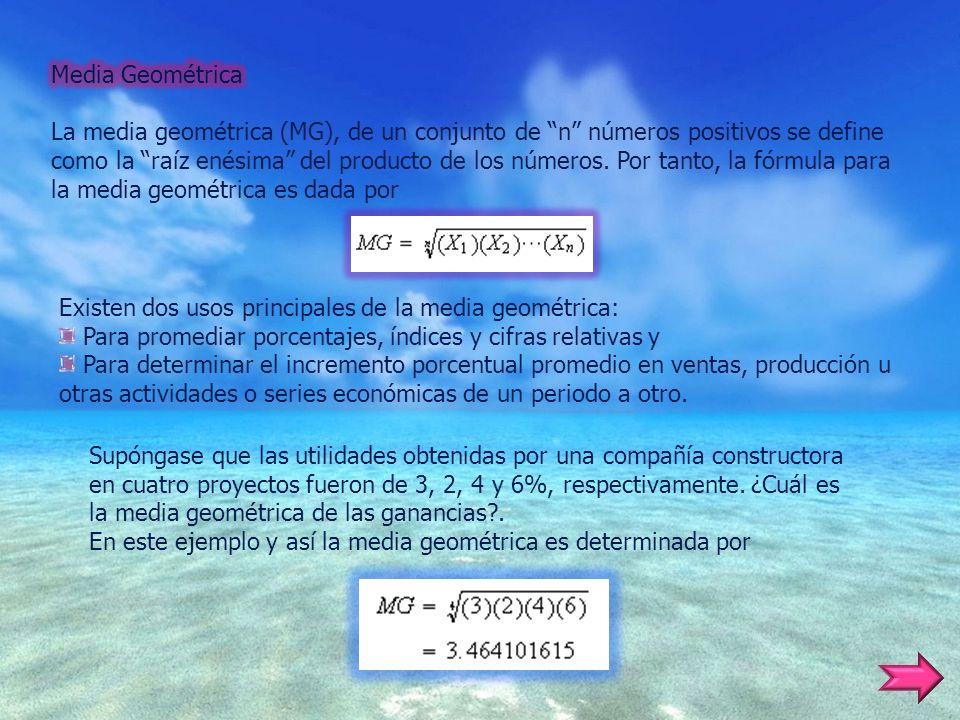 Existen dos usos principales de la media geométrica: Para promediar porcentajes, índices y cifras relativas y Para determinar el incremento porcentual