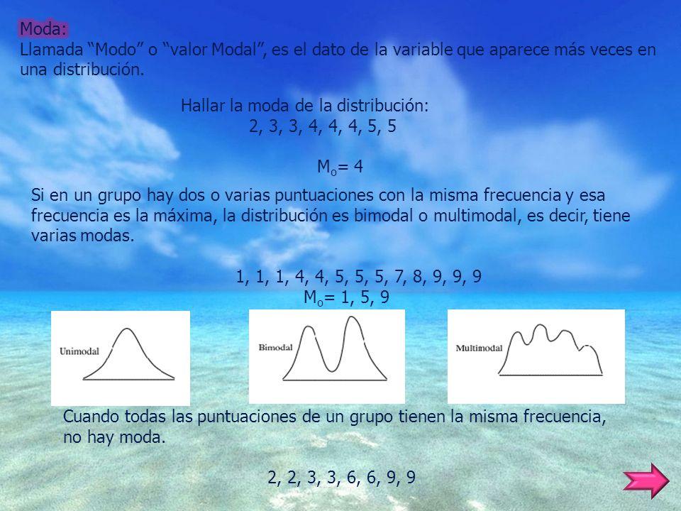 Hallar la moda de la distribución: 2, 3, 3, 4, 4, 4, 5, 5 M o = 4 Si en un grupo hay dos o varias puntuaciones con la misma frecuencia y esa frecuenci