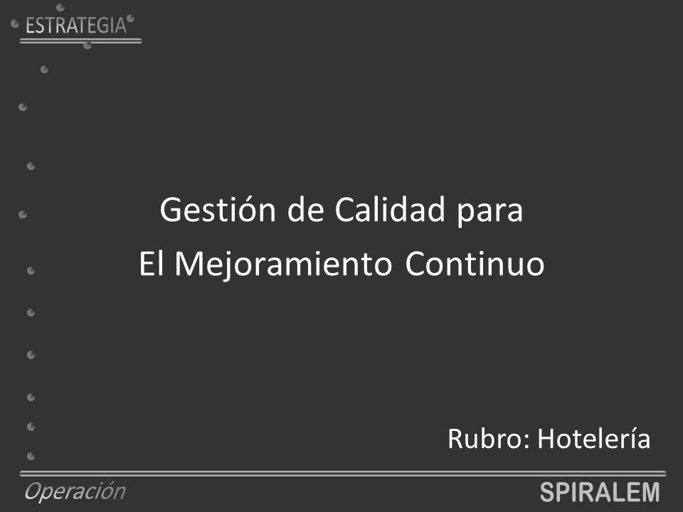 Gestión de Calidad para El Mejoramiento Continuo Rubro: Hotelería