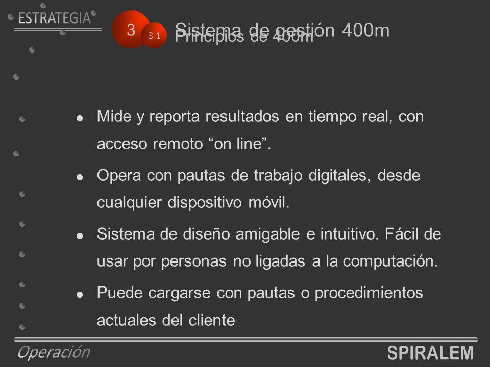 3 Sistema de gestión 400m 3.1 Principios de 400m  Mide y reporta resultados en tiempo real, con acceso remoto on line .