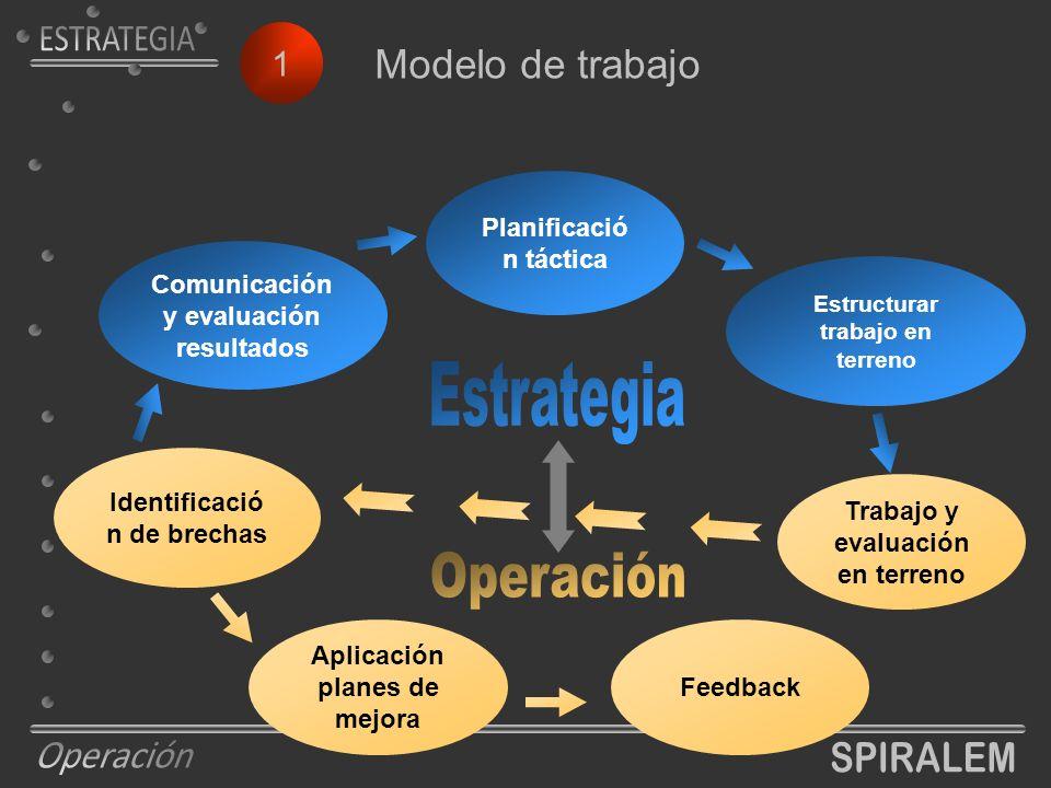 1 Modelo de trabajo Planificació n táctica Estructurar trabajo en terreno Trabajo y evaluación en terreno Identificació n de brechas Aplicación planes de mejora Feedback Comunicación y evaluación resultados