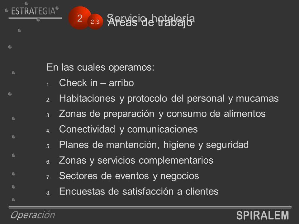 2 Servicio hotelería En las cuales operamos: 1. Check in – arribo 2.