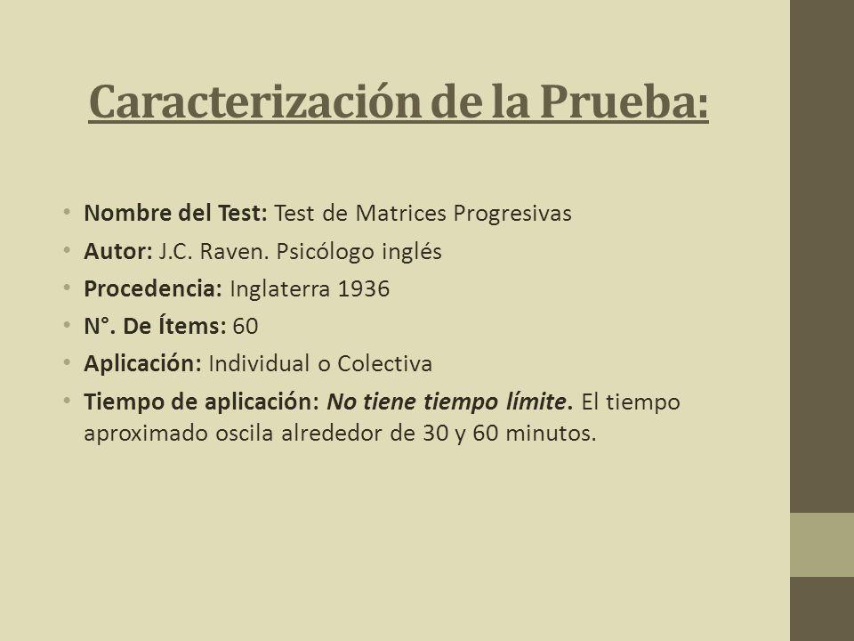 Caracterización de la Prueba: Nombre del Test: Test de Matrices Progresivas Autor: J.C. Raven. Psicólogo inglés Procedencia: Inglaterra 1936 N°. De Ít