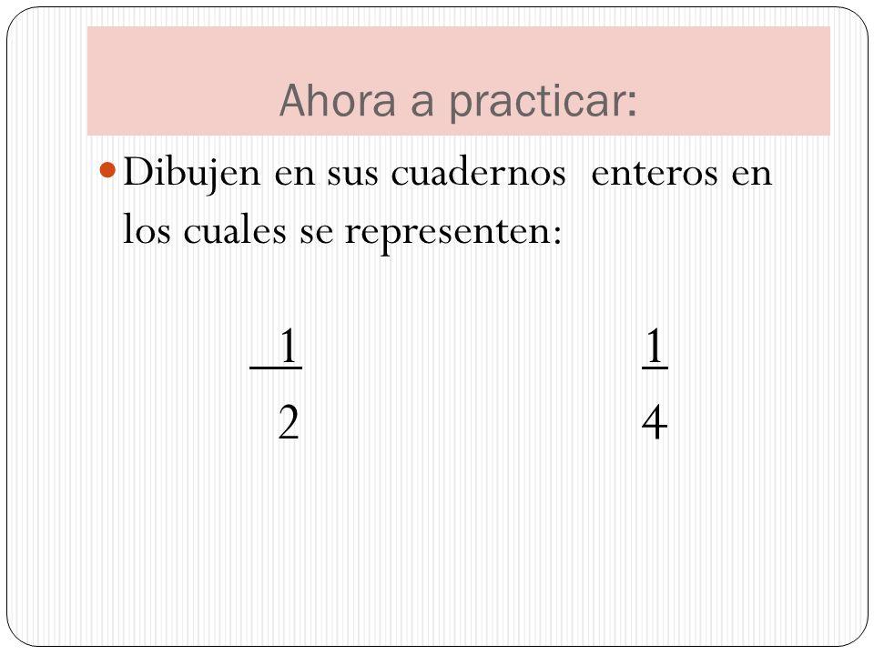 Ahora a practicar: Dibujen en sus cuadernos enteros en los cuales se representen: 1 1 2 4