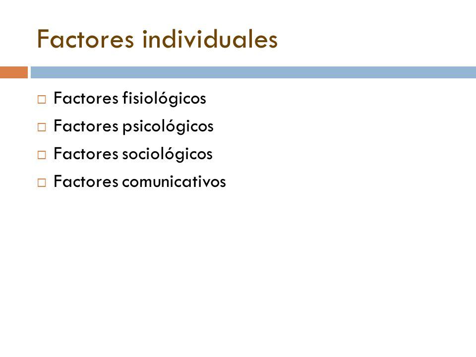 Factores individuales  Factores fisiológicos  Factores psicológicos  Factores sociológicos  Factores comunicativos