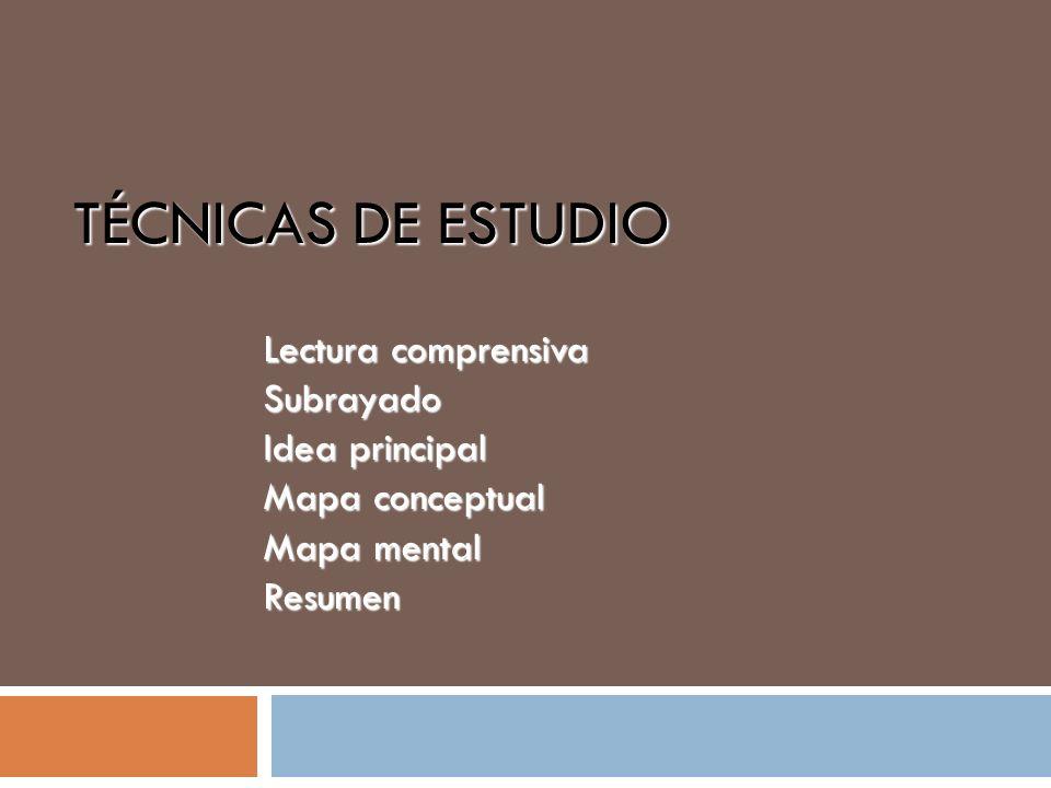 Lectura comprensiva Subrayado Idea principal Mapa conceptual Mapa mental Resumen TÉCNICAS DE ESTUDIO