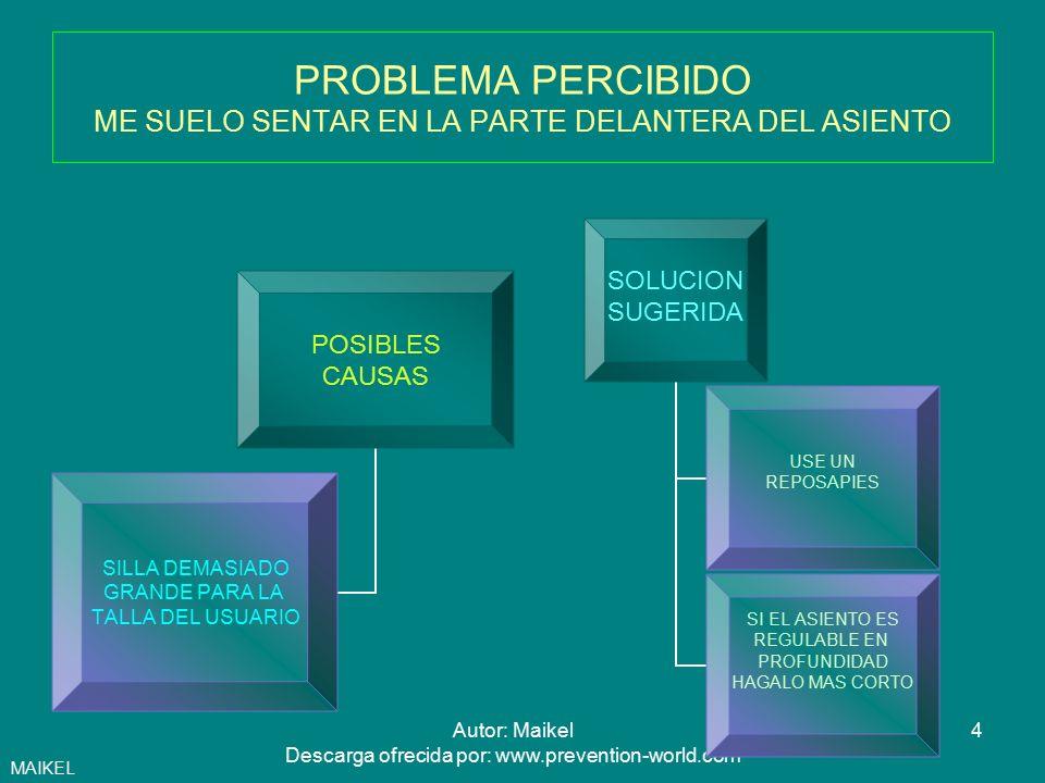 5Autor: Maikel Descarga ofrecida por: www.prevention-world.com PROBLEMA PERCIBIDO NO ME PUEDO ACERCAR BIEN A LA MESA PORQUE ME ESTORBAN LOS REPOSABRAZOS POSIBLES CAUSAS REPOSABRAZOS ALTOS Y LARGOS SOLUCION SUGERIDA BAJE LA ALTURA DEL ASIENTO HASTA QUE LOS REPOSABRAZOS QUEPAN DEBAJO DE LA MESA COMPRUEBE QUE LA ALTURA DE LA MESA SIGUE SIENDO ACEPTABLE SI DISPONE DE REPOSABRAZOS REGULABLES EN ALTURA BAJELOS MAIKEL