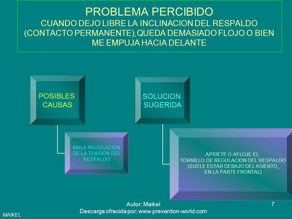 8Autor: Maikel Descarga ofrecida por: www.prevention-world.com PROBLEMA PERCIBIDO NO DISPONGO DE SITIO SUFICIENTE EN LA MESA POSIBLES CAUSAS MESA DE DIMENSIONES INSUFICIENTES MALA DISTRIBUCION DE ELEMENTOS DE TRABAJO SOBRE LA MESA SOLUCION SUGERIDA SOLICITE UNA MESA MAS GRANDE SI EL TABLERO DE SU MESA ES INFERIOR A 160X80 CM ORGANICE LOS ELEMENTOS DE TRABAJO ELIMINE ELEMENTOS ACCESORIOS Y DOCUMENTOS QUE NO ESTE UTIILIZANDO, DEJANDO UNA ZONA DE TRABAJO DESPEJADA MAIKEL