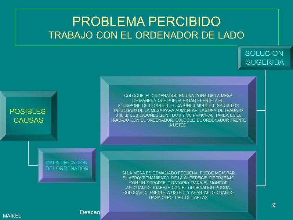 10Autor: Maikel Descarga ofrecida por: www.prevention-world.com PROBLEMA PERCIBIDO NO TENGO SITIO PARA APOYAR LAS MUÑECAS O LOS ANTEBRAZOS AL TECLEAR POSIBLES CAUSAS MALA UBICACIÓN DEL ORDENADOR SOLUCION SUGERIDA RETRASE EL MONITOR HACIA EL FONDO DE LA MESA TANTO COMO PUEDA SI LA MESA ES DEMASIADO ESTRECHA, SOLICITE UN SOPORTE MOVIL PARA LA PANTALLA DEJE AL MENOS 10 CM ENTRE EL TECLADO Y EL BORDE DE LA MESA MAIKEL