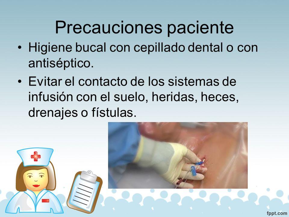 Precauciones catéter y equipo Los cuidados del catéter (apósito, punto de inserción, …) se realizarán según protocolo de la unidad.